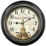 Relógio de Parede em Metal Preto Paris Vintage 23cm
