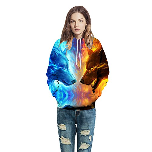 Kanzd Women Coat Ice Fire Wolf Digital Couple Outfit (Blue, L)