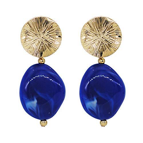(Bohemian Statement Oval Shape Sapphire Dangle Drop Earring Rhinestone Metal Charm Fashion Jewelry for Women)