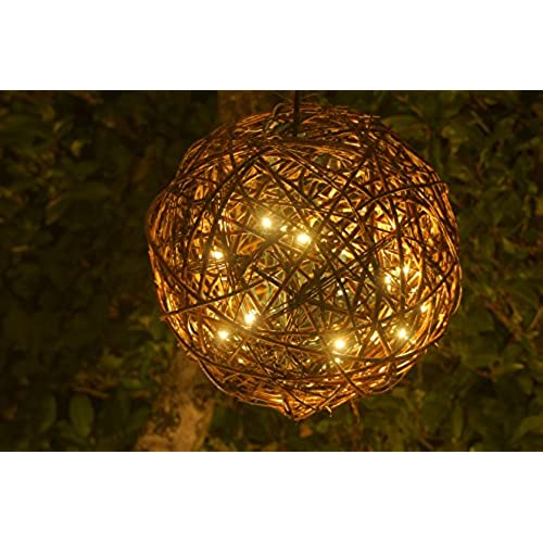 Willowbrite Globe 12 Filled With 100 Warm White LEDs Natural Willow Branch Pendant Lamp Christmas Decor Night Tree Light Ball Holiday