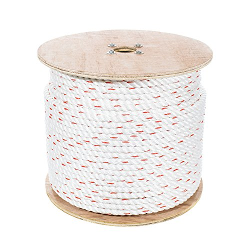 Poly Dacron Rope (1/2 Inch, 100 Feet) Twisted 3 Strand Line with Polyolefin Core - Marine, Commercial, Arborist, DIY Projects