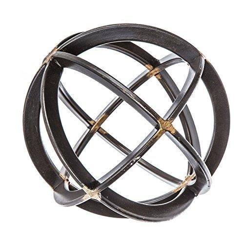 Medium Black & Gold Iron Band Decorative Sphere - Spheres Decorative