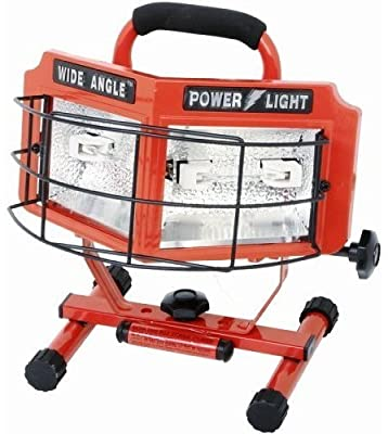 2 X Designers Edge L-5200 500-Watt Double Bulb Halogen 160 Degree Wide Angle Surround Portable Worklight, Red