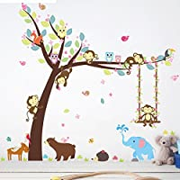 Monkey Owls Tree Wall Decal Removable Animal Tree Wall...