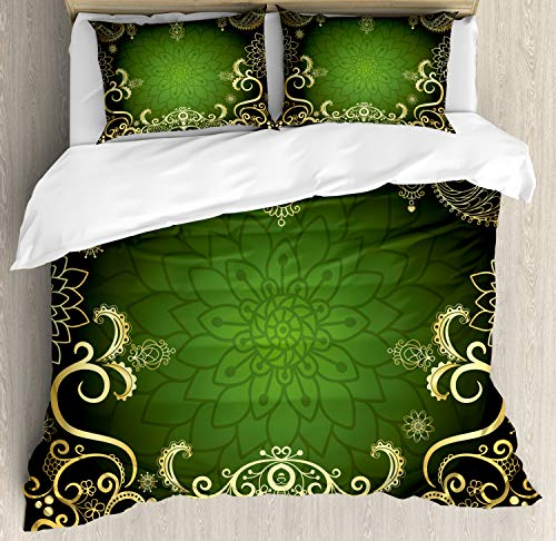 Ambesonne Mandala King Size Duvet Cover Set, Arabesque Frame with Lotus Shade Floral Swirls Little Hearts and Dots, Decorative 3 Piece Bedding Set with 2 Pillow Shams, Yellow Black