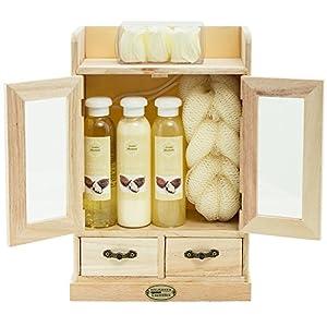BRUBAKER Cosmetics – Coffret de bain – Beurre de karité – 10 Pièces – Armoire en Bois – Idée cadeau