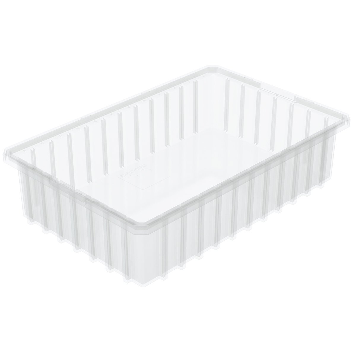 Akro-Mils 33164 16-1/2-Inch L by 10-7/8-Inch W by 4-Inch H Akro-Grid Slotted Divider Plastic Tote Box, Clear, 12-Pack