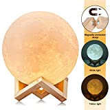 Uten AGM 3D Moon Night Light Touch Sensor Table, Dimmable Color Changing LED Baby Bedside Lamp(Large/15cm), Yellow, 15cm