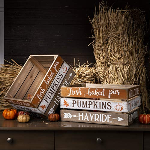 Glitzhome Wooden Crates Fall Decorative Baskets 14 x 12 x 6 Inches Rustic Wood Crates for Display Set of 2 Farmhouse Wood Crates Wooden Storage Box for Harvest and Halloween