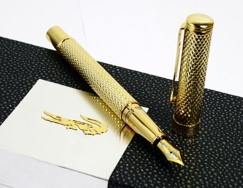 - Golden Raised Crocodile 22kgp Fountain Pen with Push in Style Ink Converter