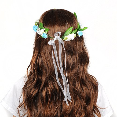 Headband Headpiece Crown Garland Halo with Adjustable Ribbon and Floral Wrist Band for Women Girls Kids Costume Wedding Festivals-Blue ()