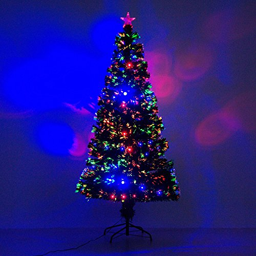 6' Artificial Holiday Fiber Optic / LED Light Up Christmas Tree w/ 8 Light Settings and Stand by HOMCOM