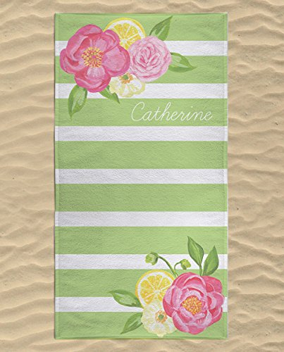 Personalized Flower Beach Towel for Kids, Girls Striped Beach Towel, Luxury Beach Floral Towel with Names, Flower Gifts, Cute Beach Towels for Women, Microfiber Beach Flat Towel 53x30 - Near Swim Store Me