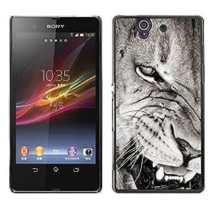 Be Good Phone Accessory // Dura Cáscara cubierta Protectora Caso Carcasa Funda de Protección para Sony Xperia Z L36H C6602 C6603 C6606 C6616 // Angry Lion Teeth Black White Nose