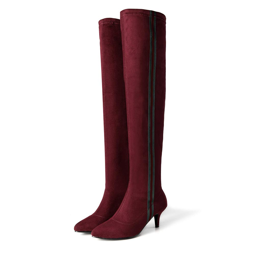LIURUIJIA Womens Over The Knee High Stretchy Suede Striped Side Leather Thigh high Snow Boots LYCX-2947-12