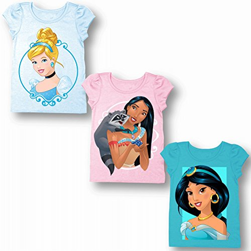 Disney Girls' Toddler Cinderella, Pocahontas, Jasmine 3-Pack Big Face T-Shirt, Blue/Light Pink/Aqua Turquoise, 2T