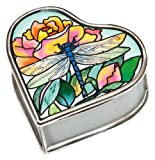 Amia Heart Shaped Handpainted Glass Dragonfly Hinged Jewelry Box, 2-1/2-Inch by 1-1/4-Inch by 2-1/2-Inch