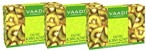 Kiwi Bar Soap with Green Apple Extract - Handmade Herbal Soap (Aromatherapy) with 100% Pure Essential Oils - ALL Natural - Each 5.3 Oz - Pack of 3 (1 Lb) - Vaadi (Apple Bar Soap)