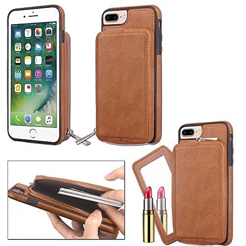 JIALUN-carcasa de telefono Para el iPhone 6 más y 6s más, contraportada con estilo retro de la PU de cuero de la carpeta de la caja con la cubierta grande de Shell de la bolsa de la cremallera de la c Brown