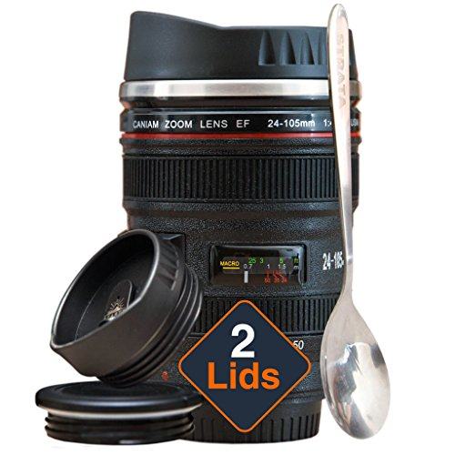 Coffee Mug – Camera Lens Coffee Mug -13.5oz, SUPER BUNDLE! (2 LIDS + SPOON) Stainless Steel, Travel Coffee Mug, Sealed & Retractable Lids! Camera Mug, Travel Coffee Cup, Coffee Mugs for Men, Women