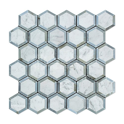 Carrara White Italian (Bianco Carrara) Marble Vortex Hexagon with Blue & Gray Strips, Polished ()
