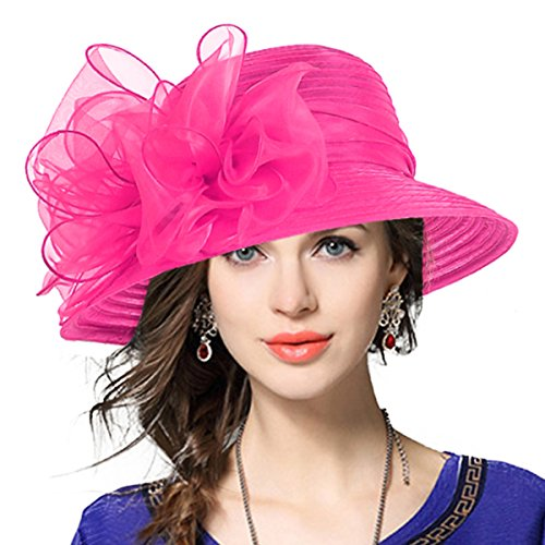 VECRY Lady Derby Dress Church Cloche Hat Bow Bucket Wedding Bowler Hats (Rose, Medium)