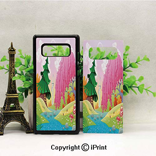 Cell Phone Case Compatible Samsung Galaxy Note 8,Fantasy Landscape with Unusual Trees Riverside Drawing Spring Summer Season Print Decorative Heavy Duty Protection Shockproof Slim Fit Case Cover ()