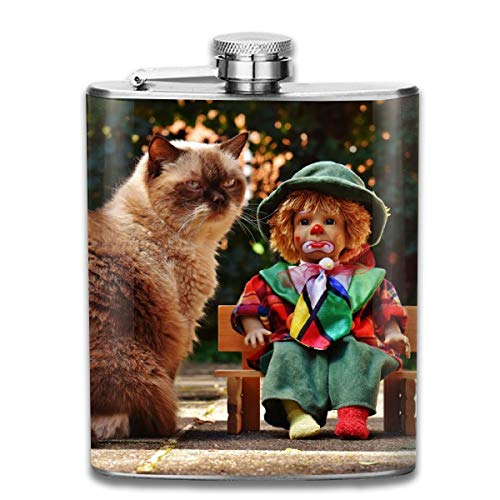 Funny British Shorthair and Clown Fashion Portable Stainless Steel Hip Flask Whiskey Bottle for Men and Women 7 Oz