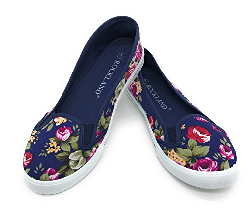 EASY21 Women Canvas Round Toe Slip on Flat Sneaker Oxford Boat Shoe,Blue Floral,Size (Floral Oxfords)