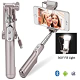 MOCREO®Bluetooth Selfie Stick with 360 Degree Led Fill Light (Gold)