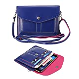 Multi-Layer Faux Leather Mini Crossbody Bag Cellphone Pouch for iPhone 6 Plus , Samsung Galaxy , HTC One, ZTE,BLU Studio Series , One Plus Two, Motorola and LG Phones (Blue)