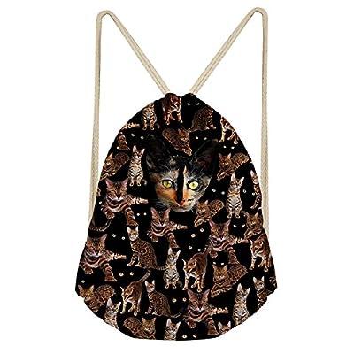 Horeset Drawstring Backpack 3D Animal Print Sport Bag for Men Women School Gym  Sack Bag 85 fe29ed40675f1