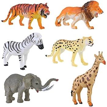 Lchen Plastic Wild Animals Figure 4inches Zoo Safari Model Tiger Leopard Lion Giraffe Zebra Elephant Toy(pack of 6)
