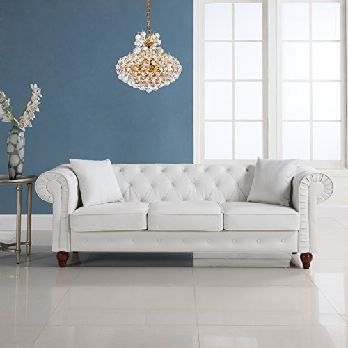 Classic Scroll Arm Chesterfield Sofa Bonded Leather White