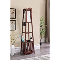 Kings Brand Furniture - Entryway Hall Tree Coat Rack Stand with Storage Shelf, Umbrella Holder & Mirror (Cherry)