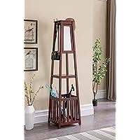Kings Brand Furniture - Entryway Hall Tree Coat Rack Stand with Storage Shelf, Umbrella Holder & Mirror (Cherry)