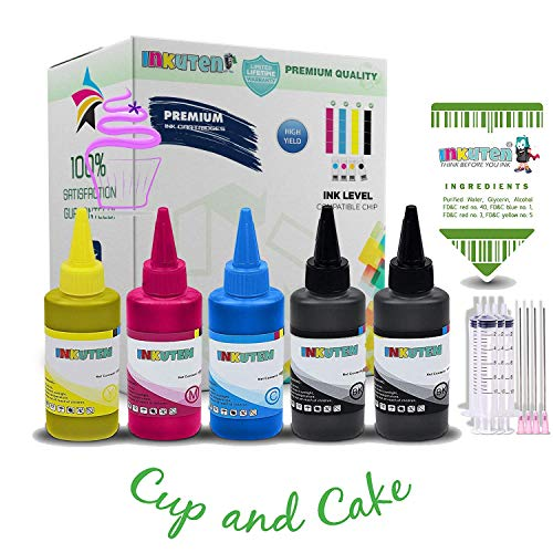 INKUTEN 500ml Edible Ink Refill Bottles for Canon PGI-280 CLI-281 PIXMA TR7520 TR8520 TS6120 TS6220 TS8120 TS8220 TS9120 TS9520 TS9521C (100ml per Color) Made in The USA