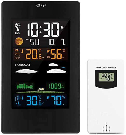 Wireless Weather Station Digital Colorful Weather Forecast Clock with Outdoor Sensor Indoor Outdoor Thermometer with Time Date Temperature Humidity Barometer Alarm Moon Phase Display Weather Clock