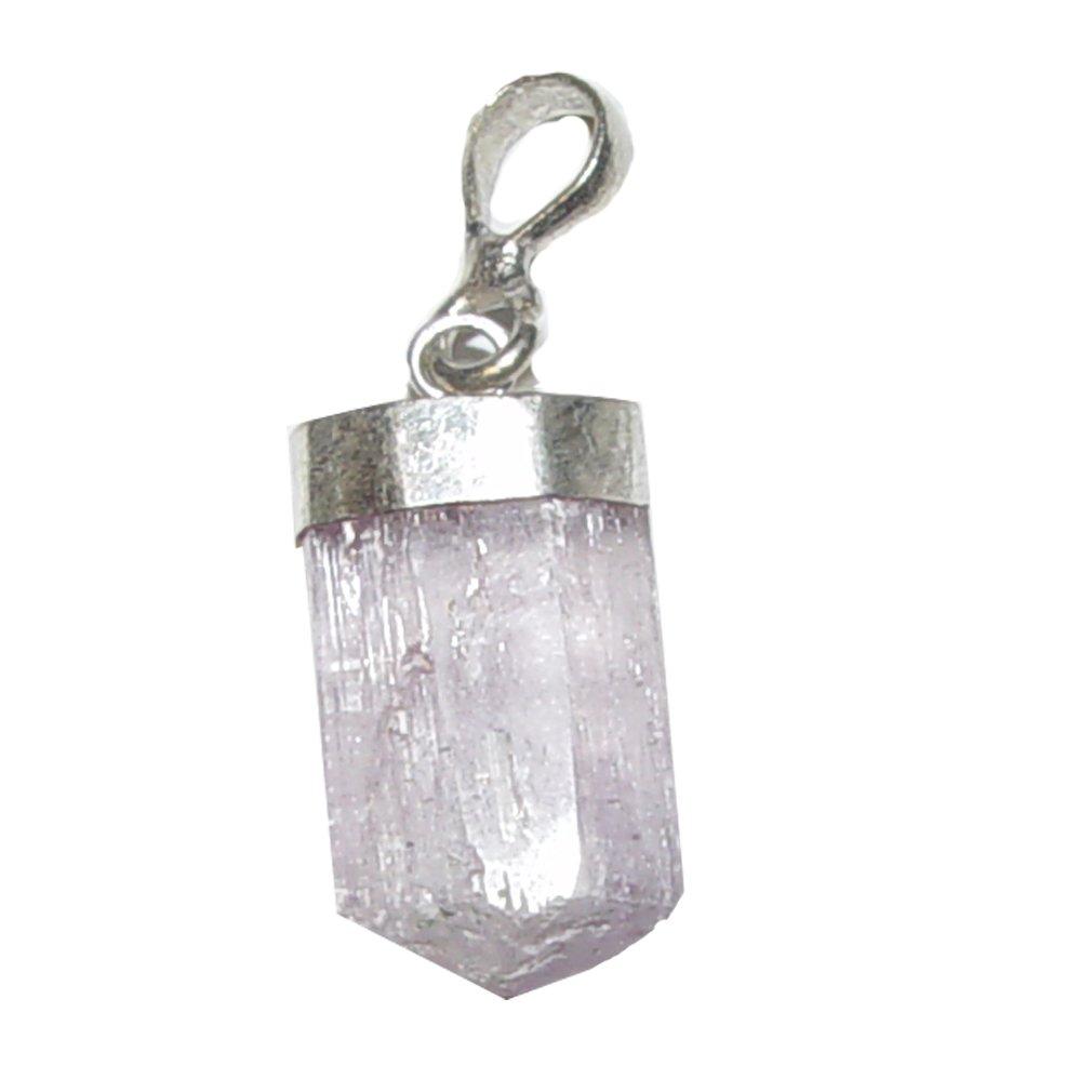 Kunzit Anhänger kleiner natur gewachsener Stab / Spitze mit 925er Silber Kappe ca. 15 mm plus Oese ca. 10 mm Janni-Shop®