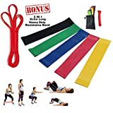 Resistance Loop Bands Bundle Set of 6 Includes BONUS Pull Up Assist Bands-Carrying Bag, Great for Yoga Pilates Rehabilitation Stretching Strength Training CrossFit, Official Elite Athletic Bands