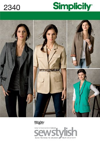 Simplicity SewStylish Pattern 2340 Misses Miss Petite Lined and Unlined Boyfriend Jackets Size 6-8-10-12-14 (Vest Lined Sewing)