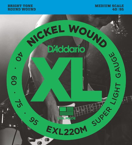 D'Addario EXL220M Nickel Wound Bass Guitar Strings, Super Light, 40-95, Medium  Scale from D'Addario