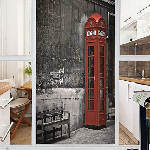 Decorative Window Film,No Glue Frosted Privacy Film,Stained Glass Door Film,Famous British Phone Boot in London Streets Important Icon of Town Urban Life Photo Decorative,for Home & Office,23.6In. by