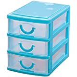SODIAL(R)Mini translucent Drawer type plastic Storage Box£¨Blue 3 Layers