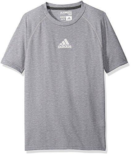 Graphic Soccer Sleeve Short Tee (adidas Boys' Climalite Short Sleeve Graphic Tee,Medium Gray Heather Large (14/16))
