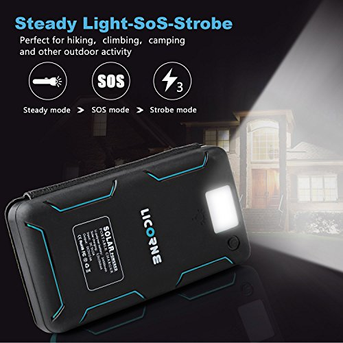Solar electricity Bank24000mAh Solar Chargers huge Capacity Solar Panel Cellphone Chargers Rain tolerant Dirt Shockproof Backup utilizing LED Flashlight double USB Port Solar Battery Charger for a good number of USB objects External Battery Packs