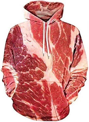 NOMUSING Unisex Fashion 3D Printed Raw Meat Pullover Long Sleeve Hooded Sweatshirt Tops Blouse Athletic Casual Pockets