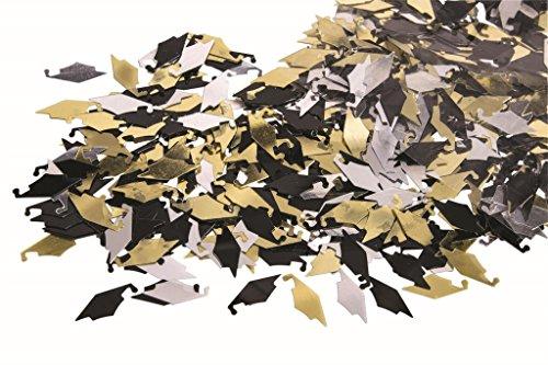 Graduation Caps Confetti (Gold, Silver, Black) Party Table Decorations pkg/6