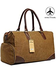 Travel Duffel Canvas Bag PU Leather Trim Weekender Rucksack Luggage with Shoe Pouch