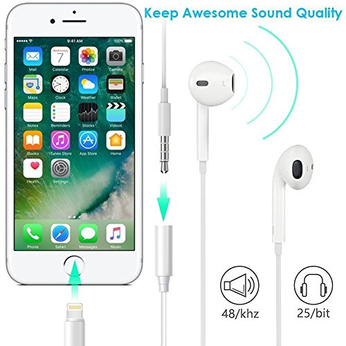 (2 PACK) Verchy iPhone 7 lightning to 3.5mm headphone jack adapter for iPhone 7/7 Plus -White (support iOS 10) by Verchy (Image #3)